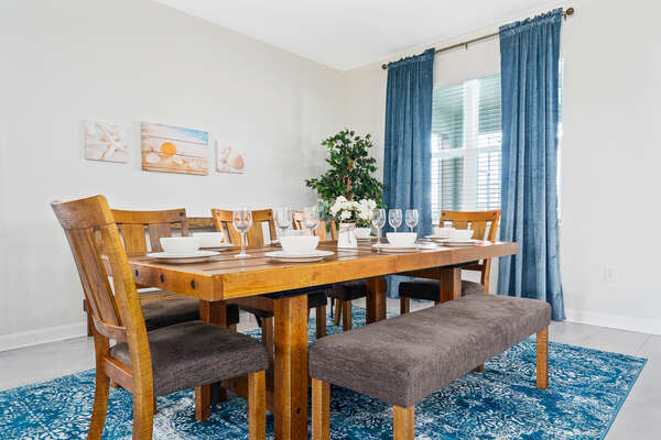 The formal dining table seats 8