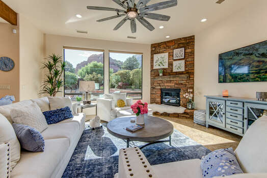 Comfortable Living Room with a Gas Fireplace, 65