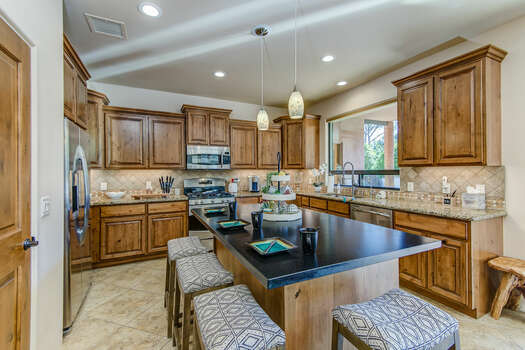 Plenty of Counter Space Including a Large Center Island with Seating for Four