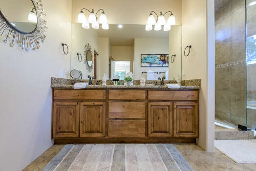 Master Bath with Dual Marble Counter Sinks