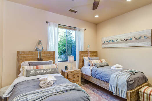 Bedroom 3 with Two Twin Beds (or Put Together for a King Upon Request and $30 Fee)
