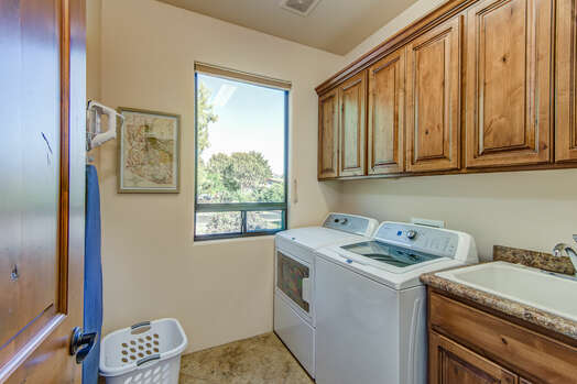 Laundry Room with a Full Size Washer, Dryer and Sink...with Red Rock Views