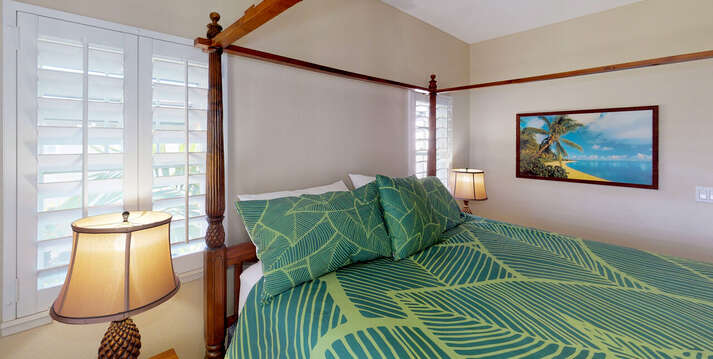 The Light and Airy Master Bedroom of this oahu rental