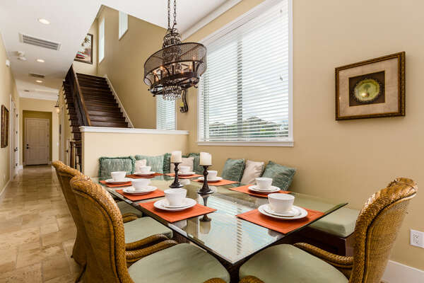 Seating for up to 8 at the formal dining table