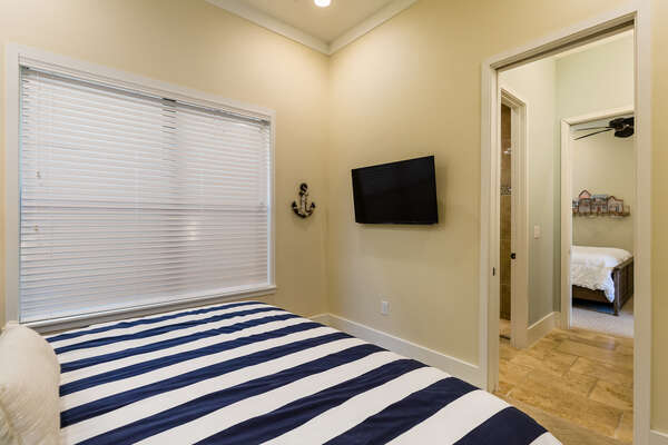 Featuring a TV and access to the Jack and Jill bathroom