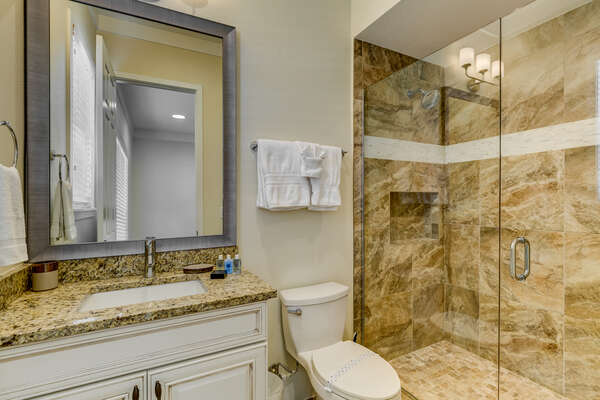 Get ready for the day at the large mirror vanity