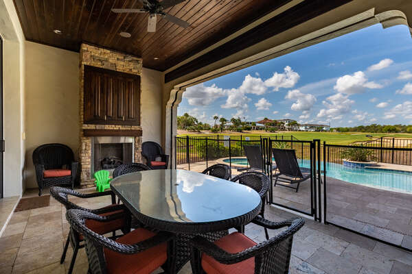 Dine al fresco at the outdoor dining table (Disclaimer: Fireplace(s) not allowed for guest use, homeowner use only.)