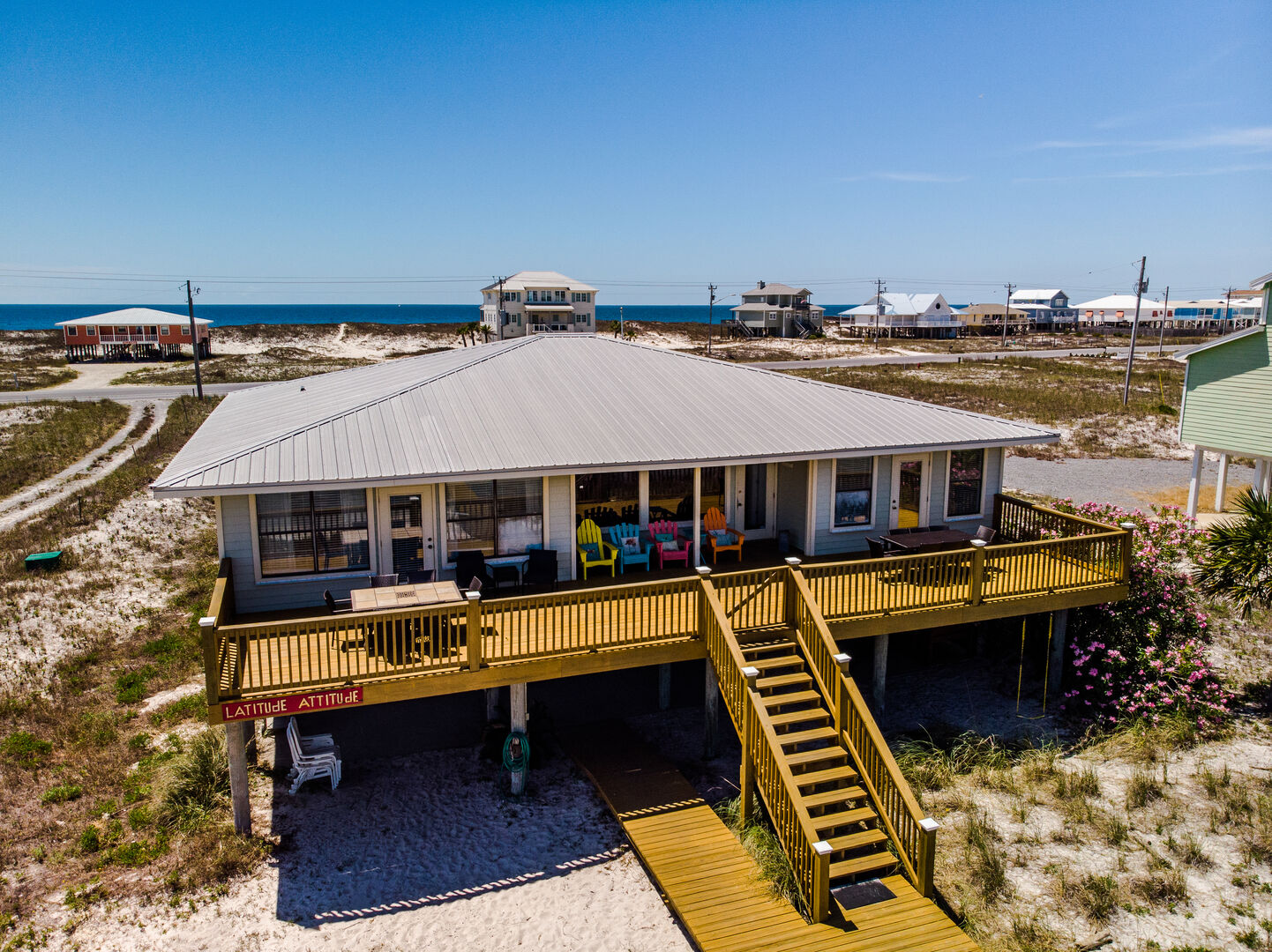 Aerial View of the Outdoor Deck of our Beach Home.