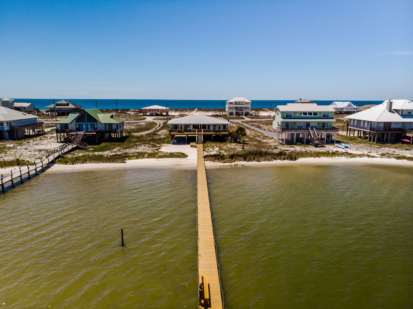 Aerial Picture of The Pier of our Beach Home in Gulf Shores.