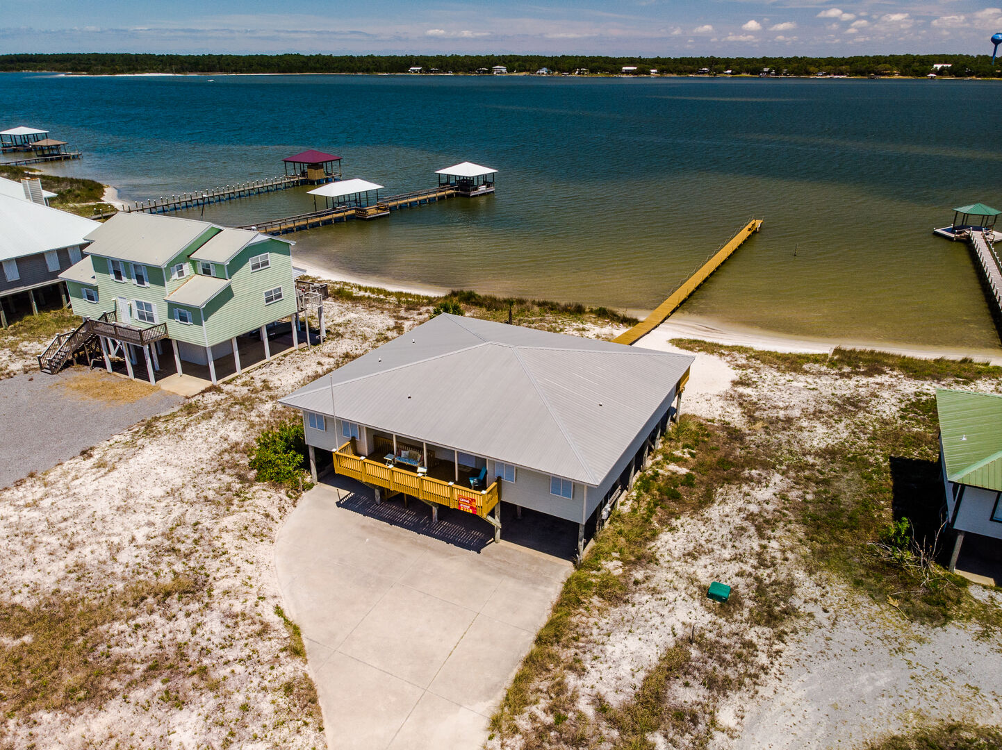 Aerial Picture of our Beach Home in Gulf Shores with a Pier.