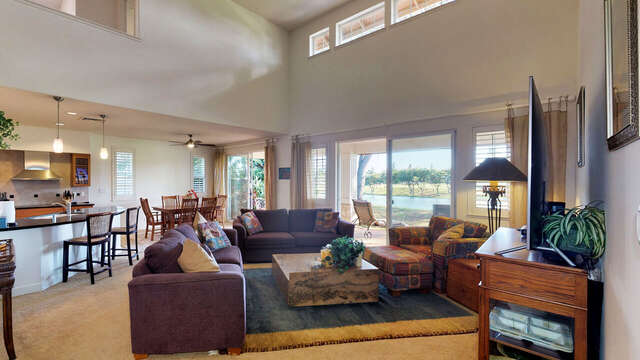Spacious and Comfy Living Area with a View of the Golf Course
