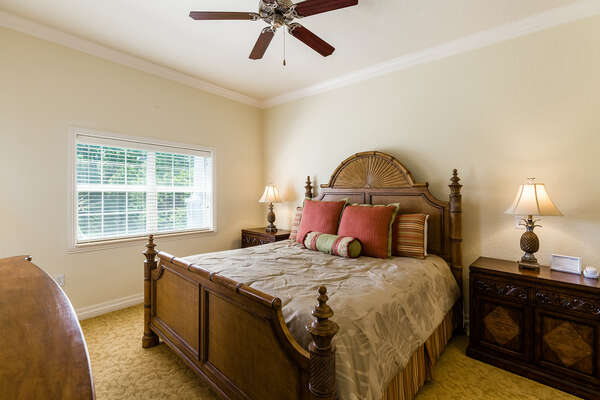 Master suite has a luxurious king size bed