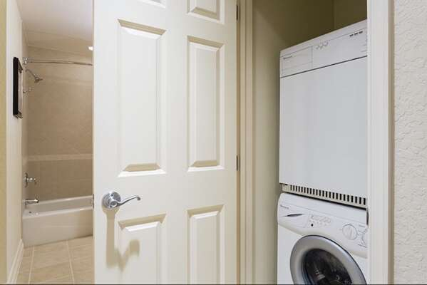Washer and dryer located right inside the home for your convenience