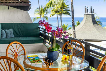Lanai with Views at our Kona Condo Rental Oceanfront Property