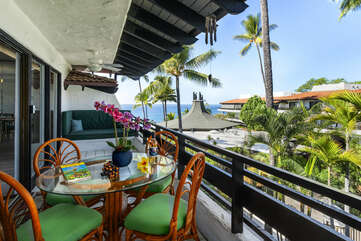 Lanai With View at our Kona Condo Rental Oceanfront