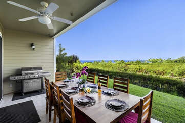 Large ground floor lanai with views and private BBQ
