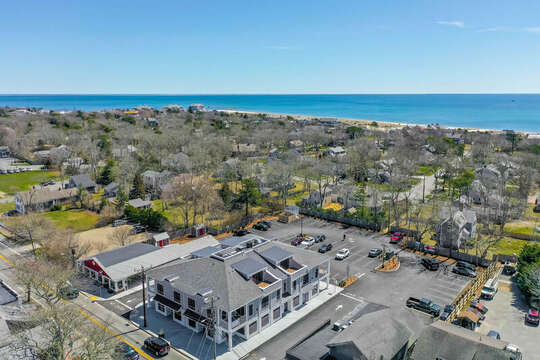 Aerial of Harwich Commons - steps to the Port and 2 blocks to the Beach!  Unit 201, 557 Route 28 Harwich Port,  Cape Cod, New England Vacation Rentals