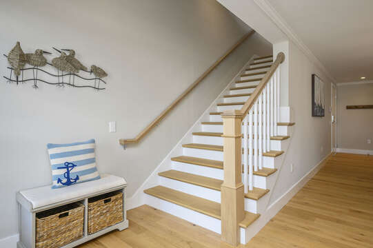 Stair case to the upper bonus room and roof top terrace.  Unit 201, 557 Route 28 Harwich Port, Cape Cod, New England Vacation Rentals