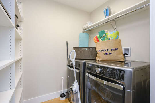 Laundry area located off the kitchen. Unit 201, 557 Route 28 Harwich Port, Cape Cod, New England Vacation Rentals