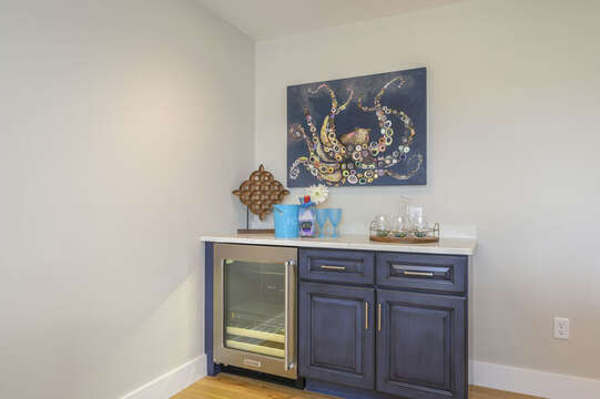 Dry bar with beverage cooler in upstairs bonus room.  Unit 201, 557 Route 28 Harwich Port, Cape Cod, New England Vacation Rentals