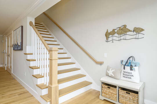 Stairs to second floor bonus room with roof top terrace.Unit 202, 557 Route 28, Harwich Port, Cape Cod, New England Vacation Rentals