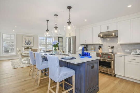 Open concept luxury kitchen and dining room unit 202, 557 Route 28 Harwich Port, Cape Cod, New England Vacation Rentals
