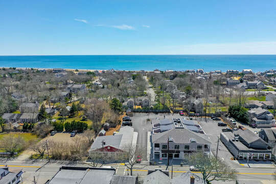 Aerial view of 557 Route 28 Harwich Port Cape Cod New England Vacation Rentals