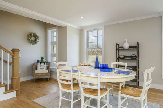 Dining area with seating for 6 with entrance to second floor bonus room.Unit 203, 557 Route 28, Harwich Port, Cape Cod, New England Vacation Rentals