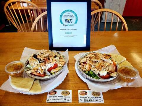 Best Greek Chicken salads at Georges Pizza!  Downtown Harwich Port, Cape Cod, New England Vacation Rentals