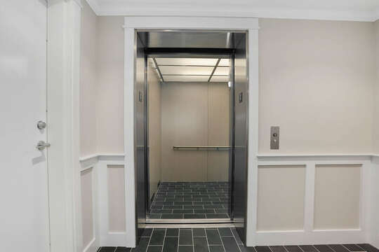 Elevator in foyer to Unit 204, 557 Route 28, Harwich Port, Cape Cod, New England Vacation Rentals