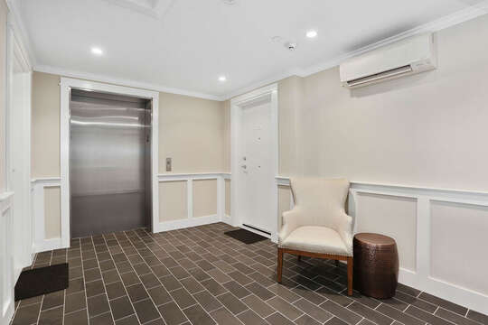 Elevator in foyer at 557 Route 28, Harwich Port, Cape Cod, New England Vacation Rentals