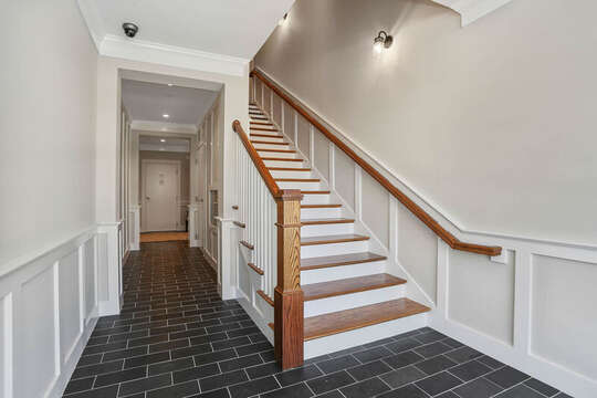 Stairs in Foyer to condos at 557 Route 28, Harwich Port Cape Cod, New England Vacation Rentals