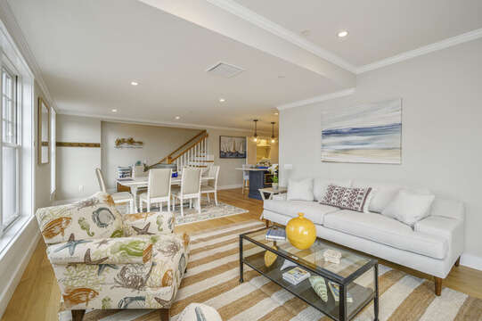 Large comfy couch and occasional chair opens into the dining area.Unit 204, 557 Route 28, Harwich Port, Cape Cod, New England Vacation Rentals