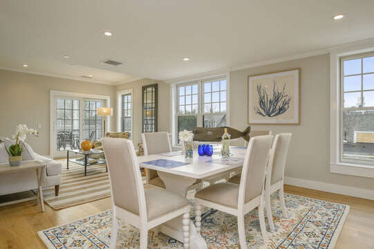 Large dining table with seating for 6.Unit 204, 557 Route 28, Harwich Port, Cape Cod, New England Vacation Rentals