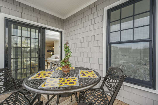 Private outdoor balcony with seating for 4.unit 204, 557 Route 28, Harwich Port, Cape Cod, New England Vacation Rentals