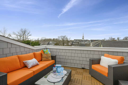 Great views of Harwich Port from this private roof top terrace. Unit 204,557 Route 28, Harwich Port, Cape Cod, New England Vacation Rentals