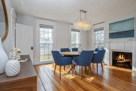 Dining Room with original fireplace. 530 Route 28 Harwich Port, Cape Cod, New England Vacation Rentals