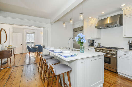 Large center Island with seating for 4 , entrance to the dining room. 530 Route 28 Harwich Port, Cape Cod, New England Vacation Rentals