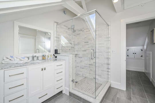 En-suite Bathroom for Bedroom #3 with large walk in shower, and vanity. 530 Route 28 Harwich Port, Cape Cod, New England Vacation Rentals