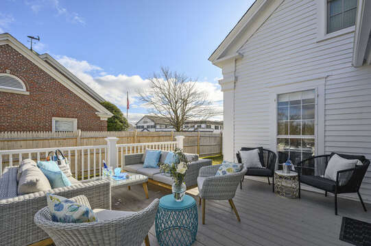 Deck off of living area with ample seating for entertaining. 530 Route 28 Harwich Port, Cape Cod, New England Vacation Rentals