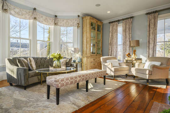 Formal living room with views of Main St. 525 Route 28, Harwich Port, Cape Cod, New England Vacation Rentals