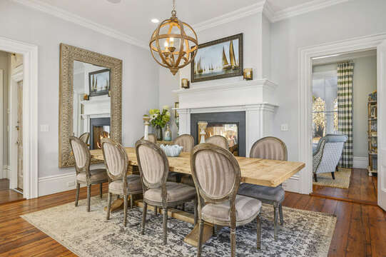 Grand farm house table for dinner with the family. 525 Route 28, Harwich Port, Cape Cod, New England Vacation Rentals