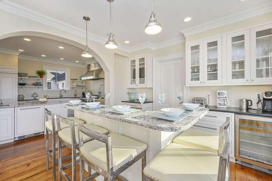 Breakfast bar with seating for 5, mini beverage fridge, Chefs range, second island for food prep! 525 Route 28, Harwich Port, Cape Cod, New England Vacation Rentals