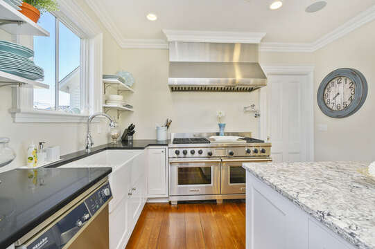 Chefs kitchen with gourmet range and ovens,large sunkin farmers sink, dishwasher, ample counter space.525 Route 28, Harwich Port, Cape Cod, New England Vacation Rentals