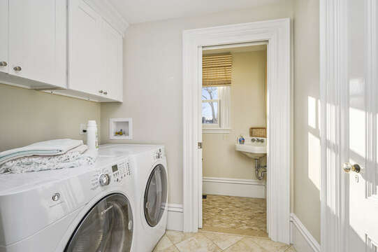 Laundry room and half bath are just off the ktichen525 Route 28, Harwich Port, Cape Cod, New England Vacation Rentals