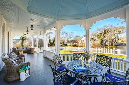 The Grand front porch of The Mooring. 525 Route 28, Harwich Port, Cape Cod, New England Vacation Rentals
