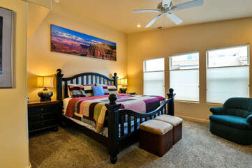 Master Bedroom with king bed and chair