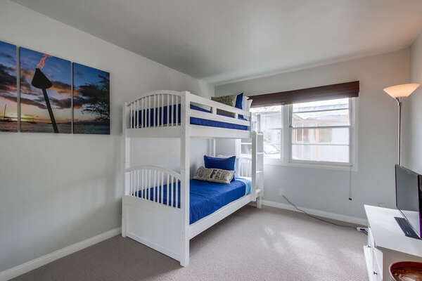 White Bunk Bed in Bedroom.
