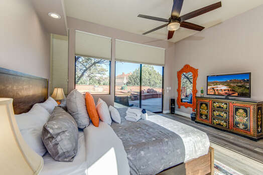 Main Level Master Bedroom with a King Bed and 48