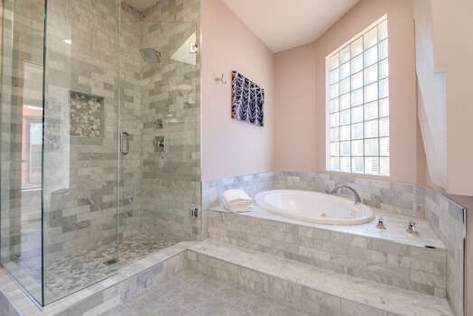 Large Shower and Jetted Tub